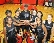 Lady Ballers with Coach Allen